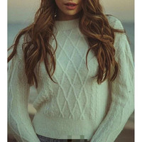 Brandy Melville Vintage Pullover Knit Tops Sweater [9698942351]