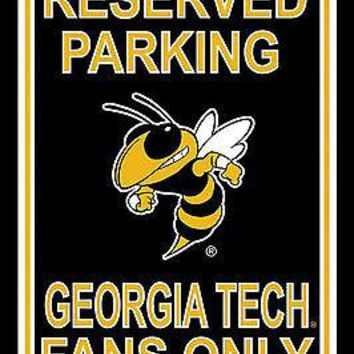 Georgia Tech Yellow Jackets RESERVED 12x18 Plastic Wall Parking Sign University