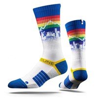 Strideline 2.0 Rainbow Block Throwback Denver Nuggets City Blue Crew socks