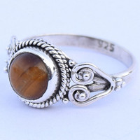 Tiger Eye Stone Ring || Sterling Silver Tiger Eye Ring || Gemstone Ring || Solitaire Adjustable Ring || Gift Idea, Girlfriend gift Ring