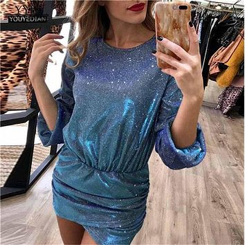 Women Sequin Dress Party 2019 Sexy Glitter Crew Neck Bodycon Ladies Clubwear Cocktail Mini Dress Elegant Dress