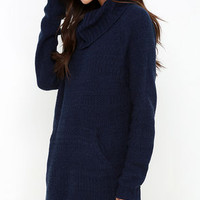 Foggiest Idea Navy Blue Sweater Dress