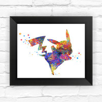 Pikachu Pokemon Anime Wall Decoration on WaterColor Framed