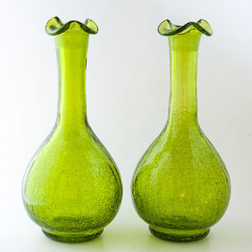 GREEN Crackle GLASS DECANTERS. Rainbow Glass Co. Crackle Glass Decanters Bright Yellow Green. Tall, 9 Inch, Green Crackle Glass Bottles.