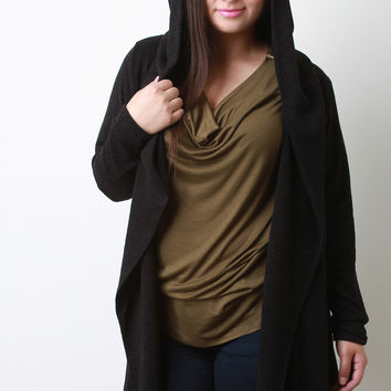 Wide Collar Hooded Cardigan