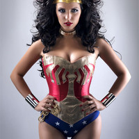 custom made wonder woman corset costume with cape and brass or steel cuffs and Tiara