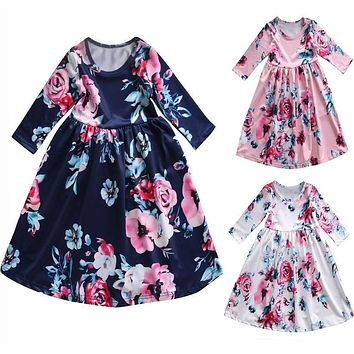 Toddler Kids Baby Girls Boho Long Foral Princess Party Dress Pro b26f4285e