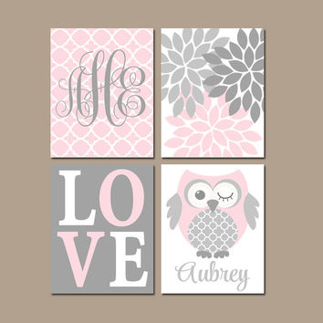 OWL Pink Gray Nursery Wall Art, Baby Girl Nursery Artwork, Girl Bedroom Pictures, Love Flower Set of 4 Canvas or Prints, Above Crib Decor