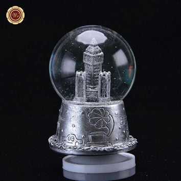 WR Birthday Gift Ideas for Girlfriend Silver Plated Music Box Beautiful Landscape Models Snowflake Home Office Decor 8x8x11cm