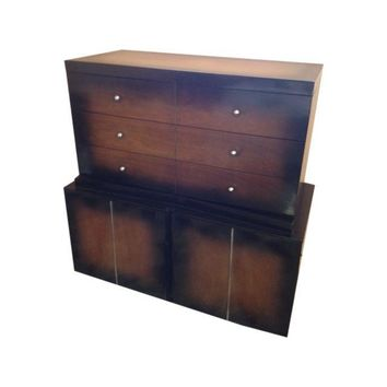 Pre-owned Mid-Century Modern Tall Sunburst Finish Dresser