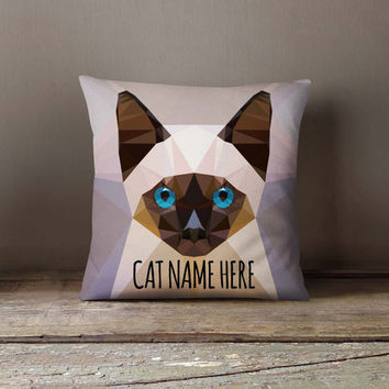 Personalized Geometric Siamese Cat Pillowcase | Decorative Throw Pillow Cover | Cushion Case | Designer Pillow Case | Gift for Pets Lovers
