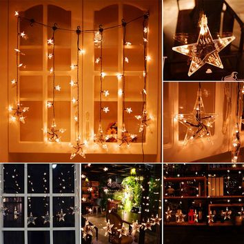 1*0.75m 60-LED Stars Curtain Light 36-Star String Light with 8 Modes Memory Function Waterproof Decoration for Garden Home Patio Lawn Wedding Christmas Festival Party EU Plug AC 220V
