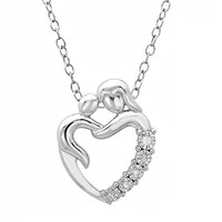 Journey Diamond Mothers Love Heart Pendant-Necklace in Sterling Silver