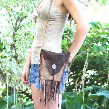 Fringe Purse, Belt Pouch, Hand Stitched Leather Pouch / Purse or Cross Body or Belt Bag, Tree of Life, Fringe, Boho, Hippie, Brown