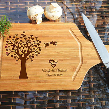 kikb504 Personalized Cutting Board Wood wooden wedding gift anniversary date tree bird names