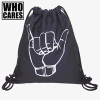 Hand Shaka Black 3D Printing mini backpack women bag 2017 fashion who cares new computer mochila drawstring bag back pack