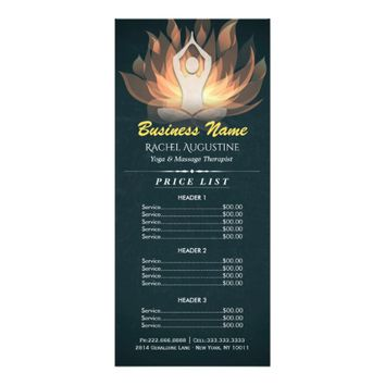 Chic Gold Mandala Lotus Yoga Meditation Price List Rack Card