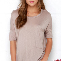 Oversize Me Taupe Tee