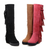 Hot Deal On Sale Height Increase Shoes Stylish Tassels Knee-length Wedge Matte Boots [9613705295]
