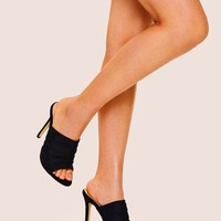 Open Toe Stiletto Heeled Mules