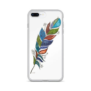 Feather phone Case, iphone 7/8 case, iPhone X case, Boho style case, 6 Plus/6s Plus, 6/6s, 7 Plus/8 Plus unique case, Zentangle phone cover