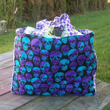 Tote Bag Purple Blue Skulls Harlequin Ready To Ship Shopping Bag Grocery Bag