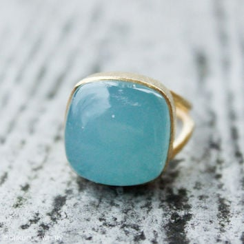 BOXING DAY SALE Gold Aqua Blue Chalcedony Gemstone Ring - Cocktail Ring - Adjustable, Marked Down