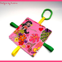 Hawaiian Taggie Crinkle Toy - Baby Girl  - Sensory - Teether - Hula Girl Pink