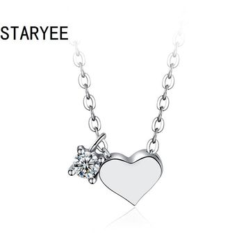STARYEE 18K White Gold Certified VS H 3EX 0.05CT Natural Diamond Heart Pendant Necklace for Women