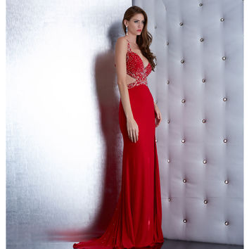Sexy Cutout Low Back Red Dress With Beaded Sweeping Train