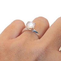 Rose Quartz Ring, Sterling Silver Rose Quartz Ring, Cushion Cut Ring