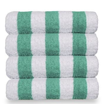 Luxury Hotel & Spa Towel 100% Cotton Pool Beach Towels - Cabana - Green - Set of 4