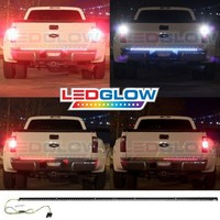 "iJDMTOY Red/White 60"" Trunk Tailgate Tail Gate LED Light Bar For Backup Reverse Brake, Turn Signal Light Functions For Ford GMC Chevy Dodge Toyota Nissan Honda Truck SUV 4x4"