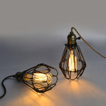 Edison Industrial cage lamp - lamp cage OR full set lamp - DIY lamp - industrial style - antique vintage style - 40W -110V-250V