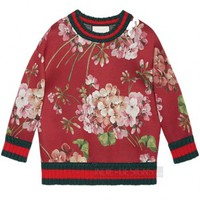 Indie Designs Gucci Inspired Red Blooms Printed Jersey Sweater