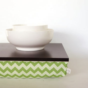 Stable table, iPad stand or wooden Breakfast in Bed serving Tray - Black green Chevron Zig Zag Pillow