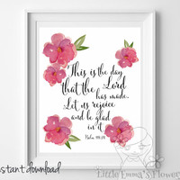 Nursery Bible verse, This is the day,  Psalm 118:24, Scripture print, Christian Print,  wall art decor, nursery wall print, watercolor