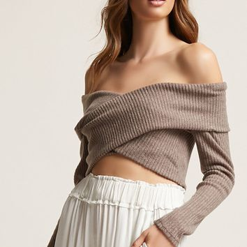 Ribbed Surplice Sweater
