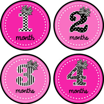 Baby Month Stickers Baby Monthly Stickers Girl Monthly Shirt Stickers Black White Pink Shower Gift Photo Prop Baby Milestone Sticker