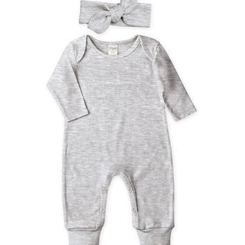 Tesa Babe Heather Gray Playsuit & Headband - Infant