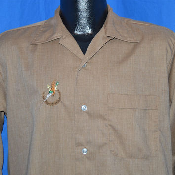 50s Keith Brown Pheasant Rockabilly Shirt Medium