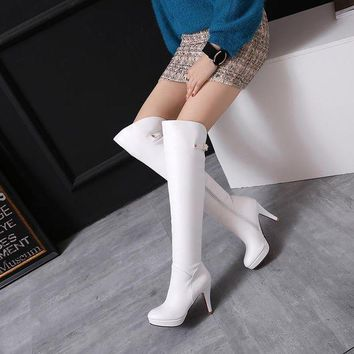 Thigh High White Leather heeled boots