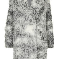 Curly Faux Fur Double Breasted Coat - Monochrome