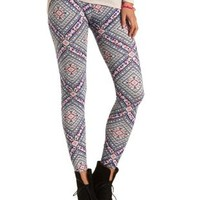 Psychedelic Print Leggings by Charlotte Russe - Multi
