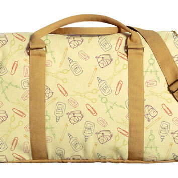 School Pattern Printed Oversized Canvas Duffle Luggage Travel Bag WAS_42