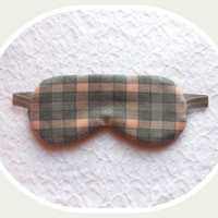 Sleeping Mask - Plaid Eyemask - Light Blocking - Comfortable Sleep Mask - Gray Cotton Night Mask - Travel Eye Mask - Sleepmask Knit