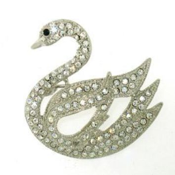 Platinum-Plated Swarovski Crystal Swan Design Brooch/Pin ( 1/2 inch x 1 1/4 inches) (Gift Boxed)
