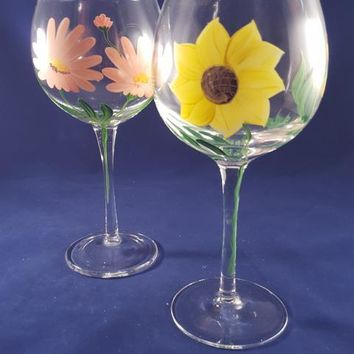 Hand Painted Tall Crystal Balloon Goblets