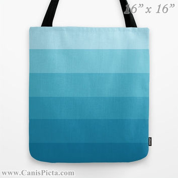 """Ombre """"Seabreeze"""" 13x13 Tote Bag Ocean Water Blue Sky Light Baby Sapphire Color Fade 16x16 18x18 Gift Her Him Spring Summer Back to School"""