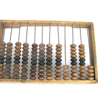 Back to school Soviet abacus large rustic wooden bookkeeping primitive calculator